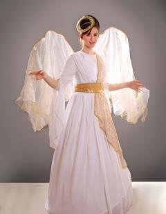 דגם 74 שמלה לבנה שרווליות חגורה וכנפיים זהב