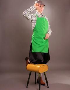 דגם 148 ב' חולצה משובצת ירוק סינר וקסקט