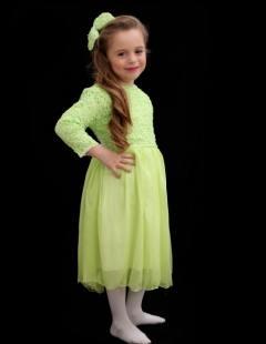 דגם 127 ב' שמלה ירוק תפוח ופפיון