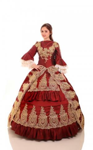 דגם 32 שמלת בורדו יוקרתית  תחרה זהב