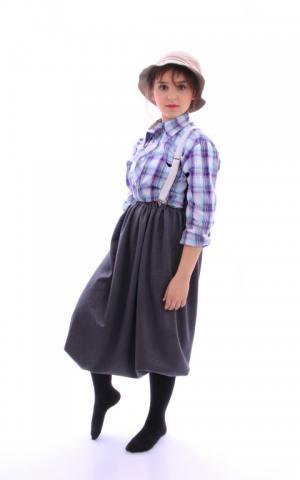 דגם 150 א' חולצה משובצת כובע קיבוצי שליקס וחצאית בלון
